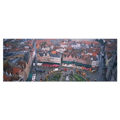 Aerial view of a town square, Bruges, Belgium Poster