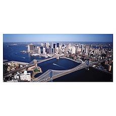 New York, Lower Manhattan, Brooklyn Bridge and Man Poster