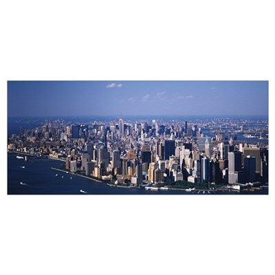 Aerial Lower Manhattan and Midtown New York NY Poster