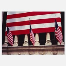 American flag on the front of a building, New York