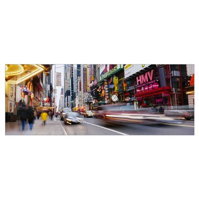 Traffic on the street, 42nd Street, Manhattan, New Framed Print