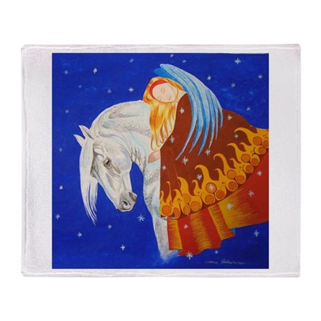 Horse and Angel Throw Blanket