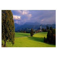 Church with Bavarian Alps Bavaria Germany