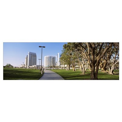 California, San Diego, Walkway in Marina Park Poster