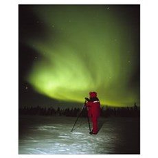 Person Watching the Aurora Borealis Poster