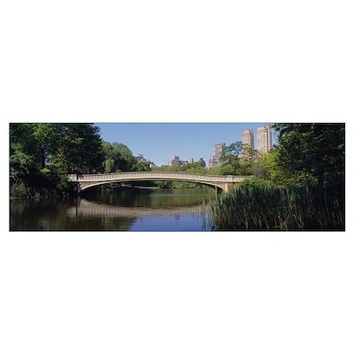 Bridge across a lake, Central Park, New York City, Poster