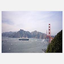 Cruise ship approaching a suspension bridge, RMS Q