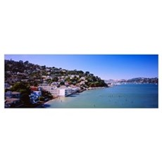 City at the coast, Sausalito, Marin County, Califo Poster