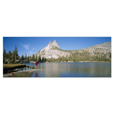 Rear view of a person fishing in a lake, Yosemite Canvas Art