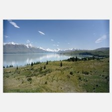 Reflection of a mountain in a lake, Lake Pukaki, M