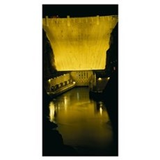 Dam lit up at night, Hoover Dam, Lake Mead, Colora Poster