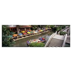 Tourists in a tourboat, San Antonio River Walk, Sa Poster