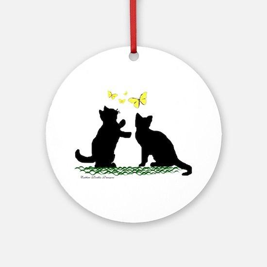 Kittens & Butterflies Ornament (Round)