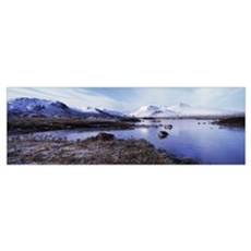 Lake at the foothill of mountains, Black Mount, Lo Poster