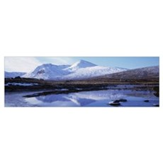 Reflection of snow covered mountains in a lake, Bl Poster