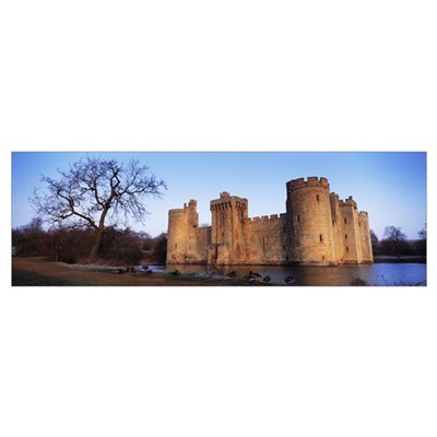 Moat around a castle, Bodiam Castle, East Sussex, Poster