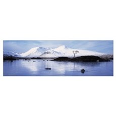 Reflection of mountains in water, Black Mount, Loc Poster