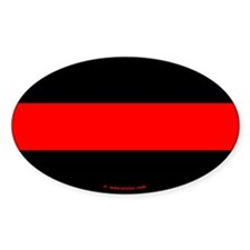Thin Red Line Firefighter Oval Decal