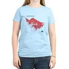 Washington Women's T-Shirt Red on Light Blue