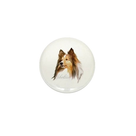 Sheltie Head-Retro Mini Button