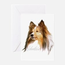 Sheltie Head-Retro Greeting Cards (Pk of 10)