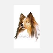 Sheltie Head-Retro Rectangle Decal
