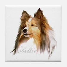 Sheltie Head-Retro Tile Coaster
