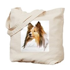Sheltie Head-Retro Tote Bag