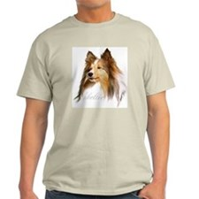Sheltie Head-Retro Ash Grey T-Shirt