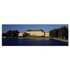 Pool in front of a palace, Drottningholm Palace, L Poster