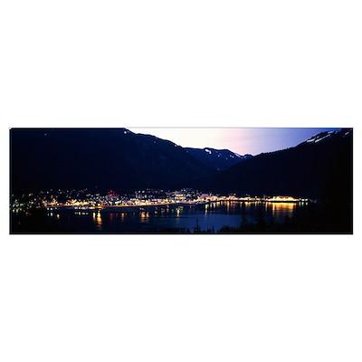 City lights on harbor, dusk, Juneau, Alaska Poster