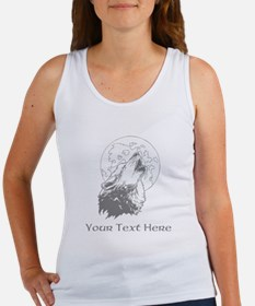 Wolf and Moon. Custom Text. Women's Tank Top