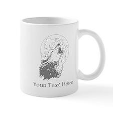 Wolf and Moon. Custom Text. Mug