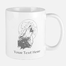 Wolf and Moon. Custom Text. Mug