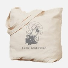 Wolf and Moon. Custom Text. Tote Bag
