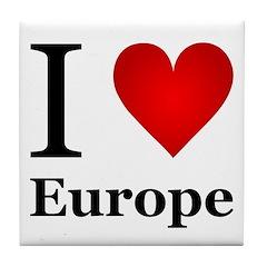 I Love Europe Tile Coaster