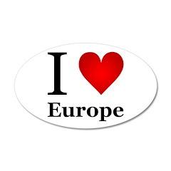 I Love Europe 22x14 Oval Wall Peel