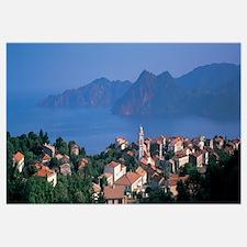 Town at the coast, Piana, Corsica, France