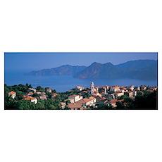 Town at the coast, Piana, Corsica, France Poster