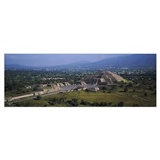 Pyramid on a landscape, Moon Pyramid, Teotihuacan, Poster