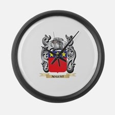 August Family Crest - August Coat Large Wall Clock