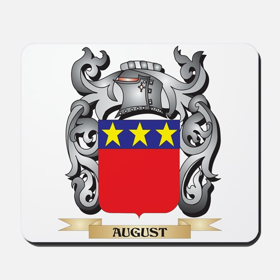 August Family Crest - August Coat of Arm Mousepad