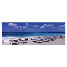 Beach chairs on the beach, Shoal Bay Beach, Anguil Poster