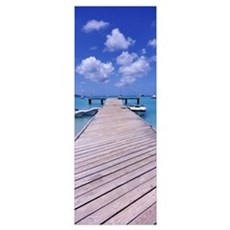 Boats moored at a pier, Sandy Ground, Anguilla Poster
