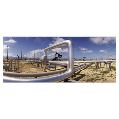 Pipelines on a landscape, Taft, Kern County, Calif Canvas Art