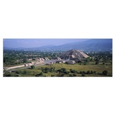 Pyramid on a landscape, Moon Pyramid, Teotihuacan, Framed Print