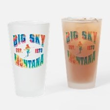 Big Sky Skier Tie Dye Drinking Glass