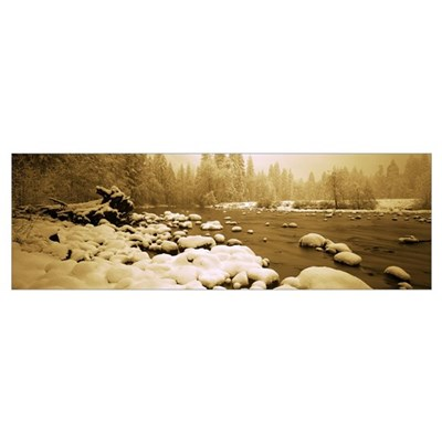 Stones in a river, Merced River, Yosemite Valley, Poster