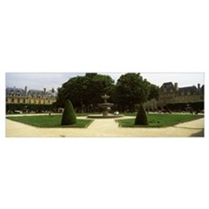 Fountain in front of buildings, Place des Vosges, Framed Print