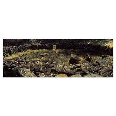 Ruins of a stone wall, Thimlich Ohinga, Lake Victo Canvas Art
